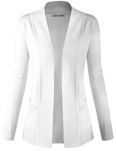 - BIADANI Women Classic Soft Long Sleeve Open Front Cardigan Sweater White Large