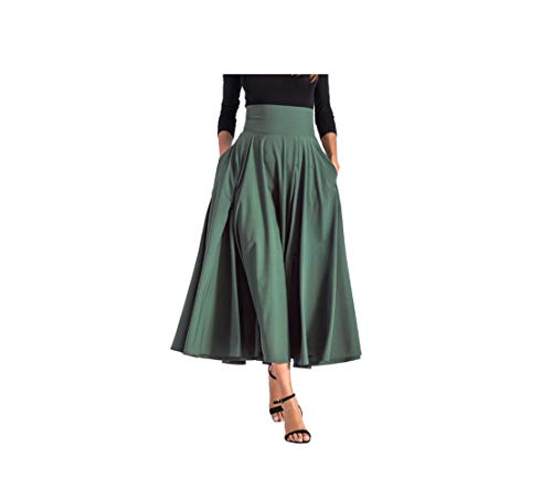 CHRISTY M Lady Knot Skirt Double Pocket Solid Color High Waist A Line Skirts 8 Colors Plus Size Multicolors,Olive,M