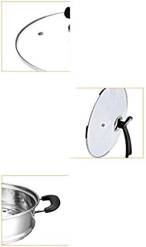 XXDTG Food Steamer Double Vapeur en Acier Inoxydable Épaissie De Sécurité Couvercle À Induction Et en Verre Trempé Couverture 27CM