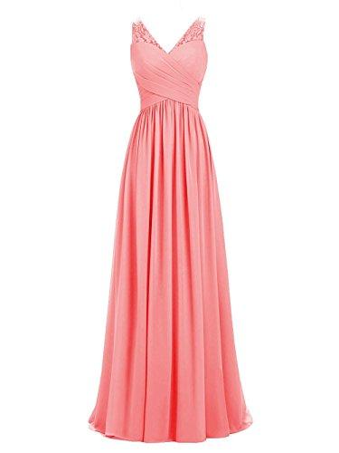 Brautkleid Spitze Für Carnivalprom Damen Chiffon Abendkleider Hochzeit Koralle Ballkleider Elegant ExqS0