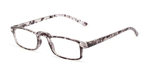 Readers.com The Parsons +1.25 Matte Grey Tortoise Half or Full Frame Thin Rectangular Rectangle Reading - Or Glasses Half Frame Full Frame