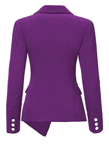 Irregular Violett Autunno Da Donna Outwear Mode Single Giacca Cappotto Puro Manica Di Tailleur Bavero Lunga Giovane Offlce Marca Breasted Colore Ovest Moda Eqxaw7d1
