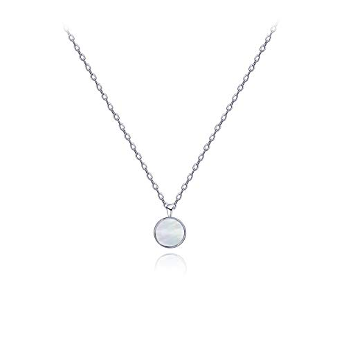 S.Leaf Tiny Round Mother of Pearl Necklace Sterling Silver Circle Disc Pendant Shell Pendant Necklace (White Gold)