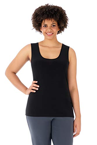 Rekucci Travel in Style - Curvy Woman Knit Scoop Neck Plus Size Tank Top (2X,Black) (Knit Top Tank Stretch)