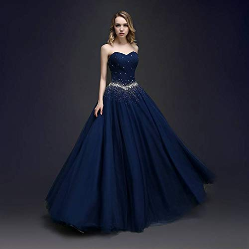 Damen Party Tuell kleider Abendkleid lange Marineblau KAIDUN Ballkleid 7aqd7w