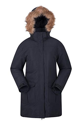 Mountain Warehouse Tarka Womens Winter Jacket -Long, Padded Coat, Waterproof, Fleece Lining Ladies Coat, Fur Trim Hoodie…