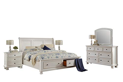 Cal King Sleigh Bedroom Set - Liverpool Cottage 5PC Bedroom Set Cal King Sleigh Storage Bed, Dresser, Mirror, 2 Nightstand in White