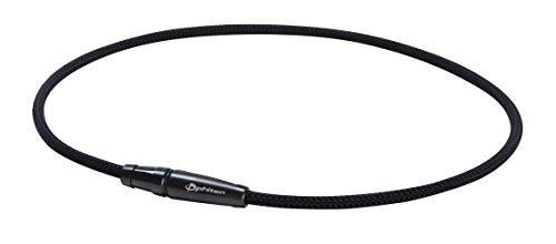 (Phiten X100 Titanium Necklace Leash model-20 X100 Titanium Leash TG230153 Necklace, Black, 20