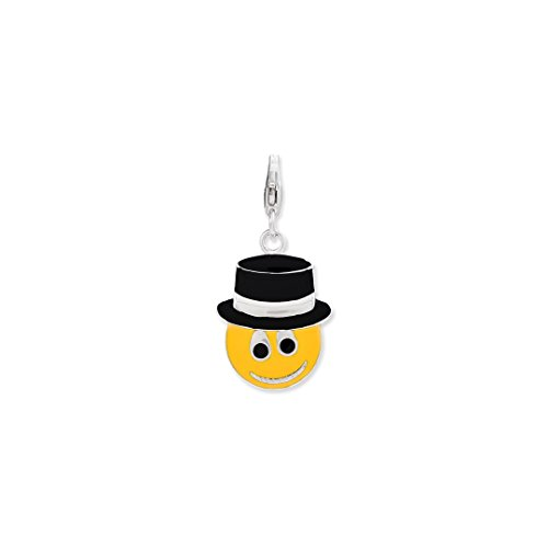 925 Sterling Silver Enameled Face Top Hat Lobster Clasp Pendant Charm Necklace Fine Jewelry Gifts For Women For Her ()