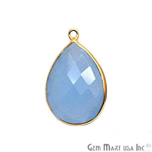 Light Blue Chalcedony Connector, 15x20mm Pears Connector, Gold Bails Connector (BL-10087)
