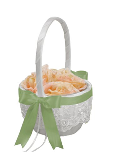 Beverly Clark Chantilly Lace White Flower Girl Basket With Custom Satin Ribbon Bow (SPRING MOSS GREEN)