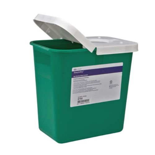 Covidien 8790 SharpSafety Non-Infectious Waste Container, Polypropylene, 2 gal Capacity, Green (Pack of 20)