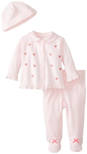 Little Me Baby-Girls Newborn Strawberry Dot Take Me Home Set, Light Pink, 3 Months