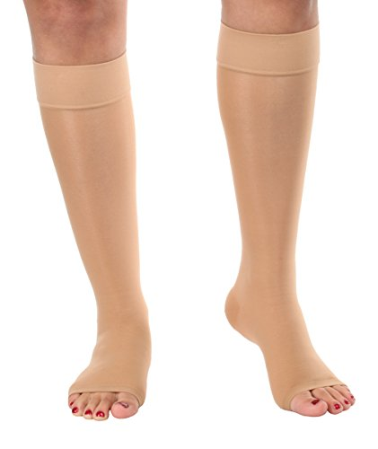 Lux Sheer Compression Open Toe Knee Hi Firm 20-30mmHg- Absolute Support- Silky Beige, Medium- Made in USA