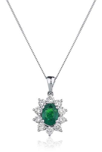 1.40CT Certified G/VS2 Emerald Oval Shape Centre and Round Brilliant Cut Claw Set Diamond Pendant in 18K White Gold