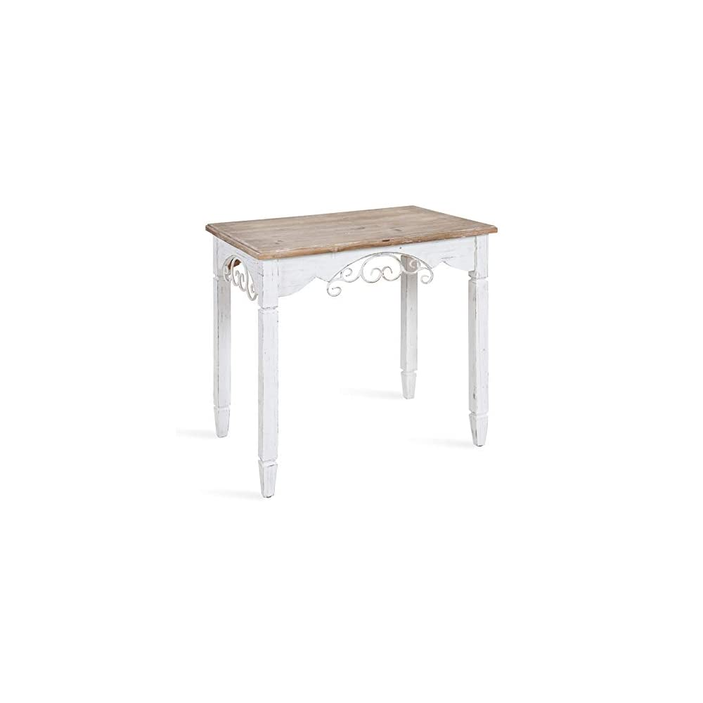 Kate and Laurel Kimberlyn Vintage Farmhouse Wood End Table, White and Rustic Wood