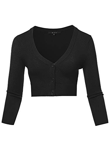 A2Y Solid Cropped Bolero 3/4 Sleeve Button Down V-Neck Cardigan Sweater Black S