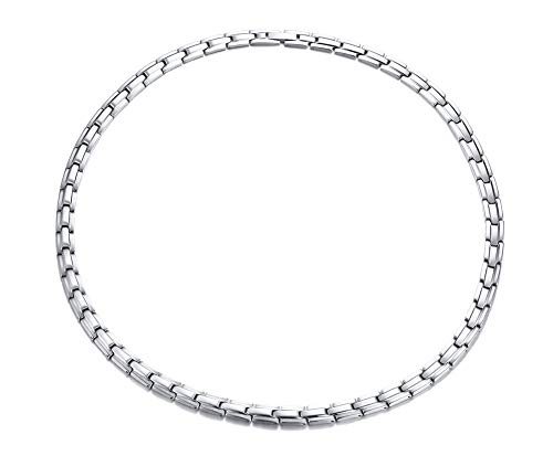 Jaline Women and Men Elegant Stainless Steel Magnetic Therapy Necklace Tone with Free Links Removal Tool,Health Function Element of Magnets,19.6 inches (Silver)