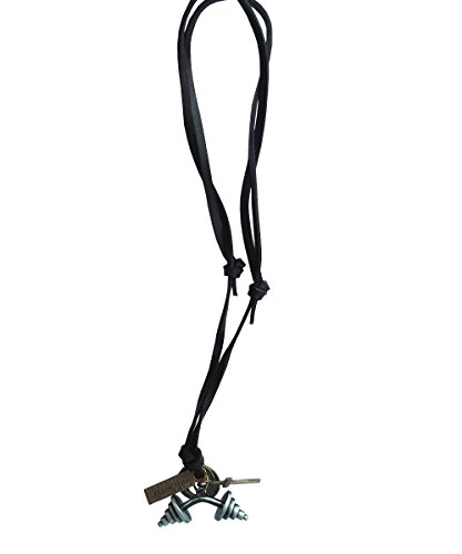 Ebsem Sport action fun necklace, genuine leather cord Surfer jewelry for Men & Women (Dumbbells) -