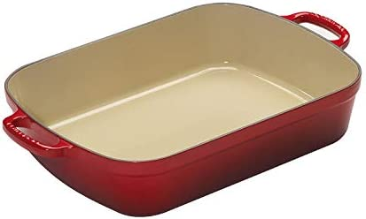 Le Creuset Signature Cast Iron Rectangular Roaster, 7.0-Quart, Cerise Cherry Red