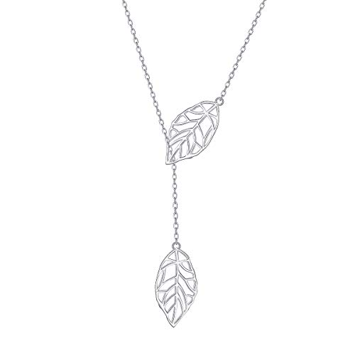 Long Necklace Sterling Silver Leaf Larait Bar Y Lariat Long Chain Drop Adjustable Necklace Gift for Her, 30