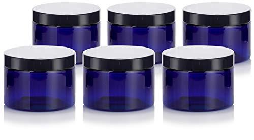 Cobalt Blue PET Plastic (BPA Free) Refillable Low Profile Jar - 12 oz (6 Pack)
