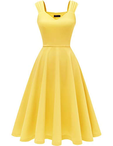 DRESSTELLS Women's Bridesmaid Vintage Tea Dress V-Neck Prom Party Swing Cocktail Dress Yellow L