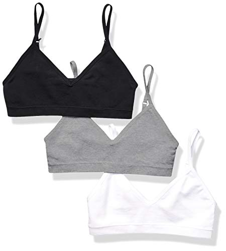 Amazon Essentials Girls' 3-Pack Seamless Training Bra, Grey Heather/White/Black