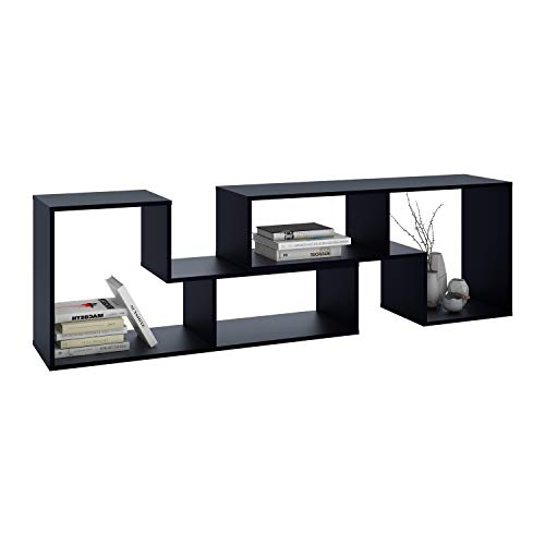 DEVAISE Versatile TV Stand, Entertainment Center Console, Bookshelf for Living Rooms, Black ()