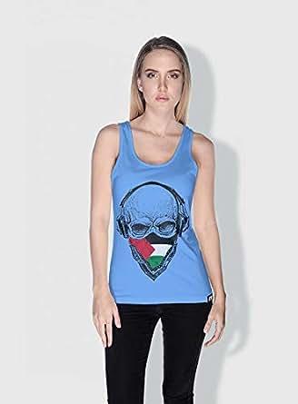 Creo Palestine Skull Tanks Tops For Women - L, Blue