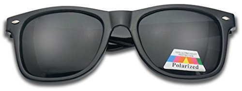 Large Oversized Square Flat Top Dark Uv POLARIZED Lens Sunglasses (Black - Large Wayfarer