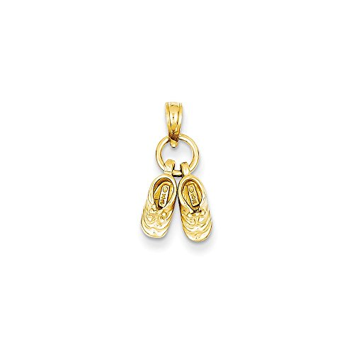 14k Gold Baby Shoes Charm Pendant (0.43 in x 0.35 in)