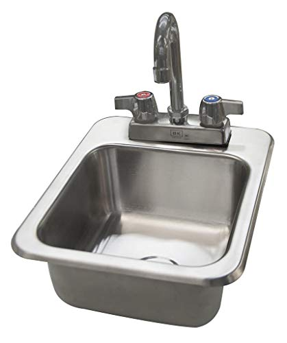 - BK Resources DDI-0909524-P-G 20 Gauge Stainless Steel 9 x 9 x 5 Inch 1 Compartment Drop in Sink with Faucet