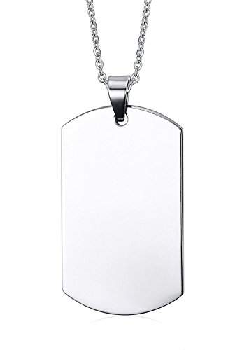 Free Custom Engraving Stainless Steel Plain Dog Tag Pendant Necklace for Men, 2 (Plain Dog Tag Necklace)