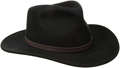 Scala Classico Men's Crushable Felt Outback Hat, Black, Large (Leather Scala)