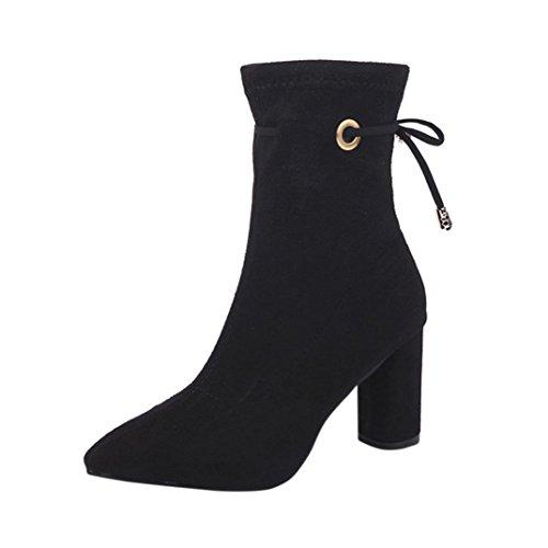 Quadrato Moda Gregge Piattaforma Tefamore degli Talloni Caviglia Tacco Donne Alti Nero Stivali Stivali Atxq45