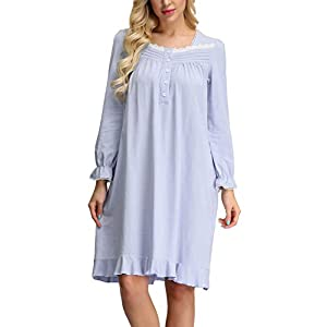 Zexxxy Women's Victorian Cotton Nightdresses Long Sleeve Vintage Nightgown Button Front Nighties S-XXL