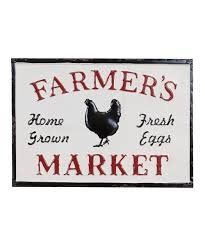 VIPSSCI Farmers Market Metal Sign Vintage Inspired with Embossed Letters and Chicken ()