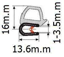 Puerta Sello De Goma Horizontal Bombilla 0,62/Bombilla de altura x 0,039/-0.137 Grip gama X 0,53/U Altura