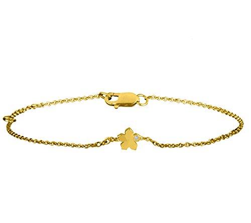 Or Jaune 9 ct Bracelet Diamant en forme de Fleur, 0.01 Ct Diamant, GH-SI, 1.53 grammes.