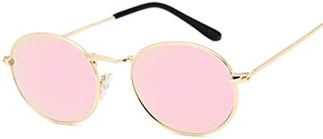 Sunglasses Gafas De Sol Retro De Montura Pequeña para Mujer, Gafas De Sol De Metal con Espejo Ovalado, Diseñador De Marca Vintage para Mujer, Goldpinkmercury