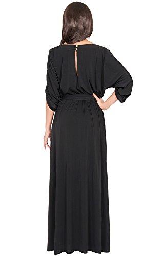 KOH KOH® La Mujer Vestido Maxi Largo Y casual con mangas media Vestido Maxi Negro