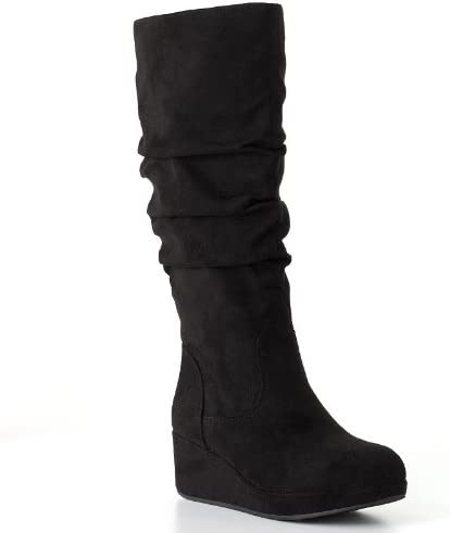 Candie's Black Tall Wedge Boots