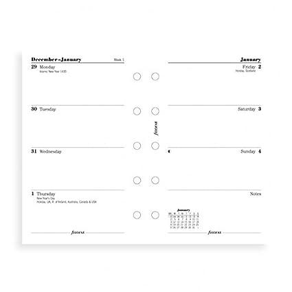 Filofax - Recambio de hojas para agenda (vista semanal 68121 ...