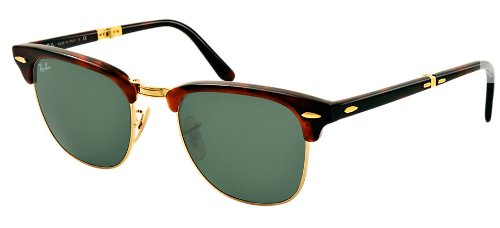 Ray Ban Clubmaster Folding RB2176 990 51-21 Sunglasses Tortoise Frame Crystal Green Solid - Ray Ban Clubmaster Folding
