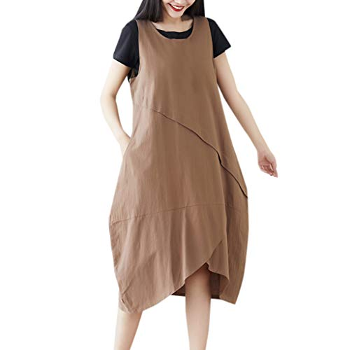Women's Casual 2 Pieces Outfit Plain Basic Tees Tops Cotton Linen Loose Stretchy Ruched Irregular Bib Overall Dress Comfy Breathable Summer Lounge Wear Plus Size