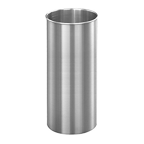 Glaro Open Top Wastebasket: 23''H x 9''Dia - Satin Aluminium by Glaro
