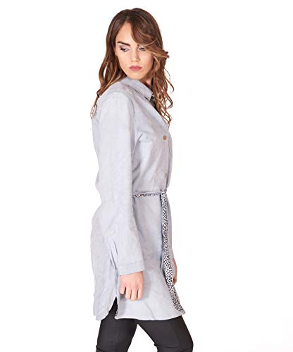 Light Blue Suede Belted Lamb Leather Long Shirt