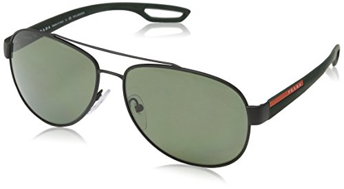 Prada Linea Rossa Men's PS 55QS Sunglasses Black Rubber / Polar Green - Prada Green Sunglasses