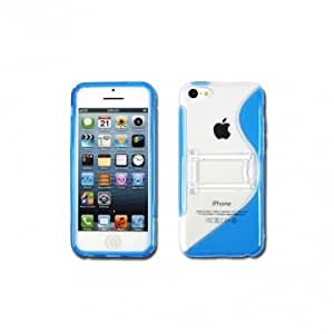 Simple TPU Case With Bracket Holder For iPhone 5C --- Color:Blue